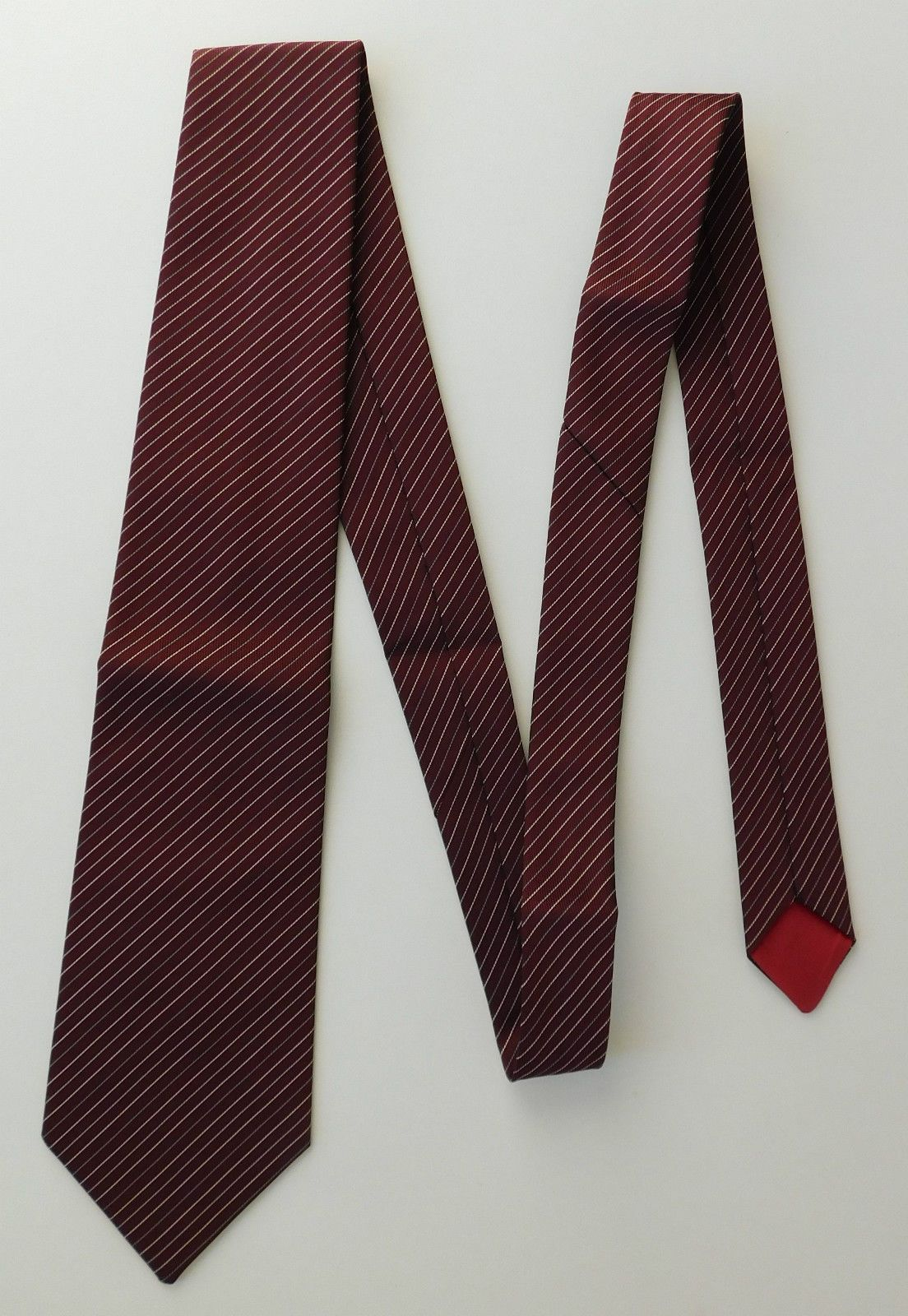 maroon pin striped tie sober business clothes bhs